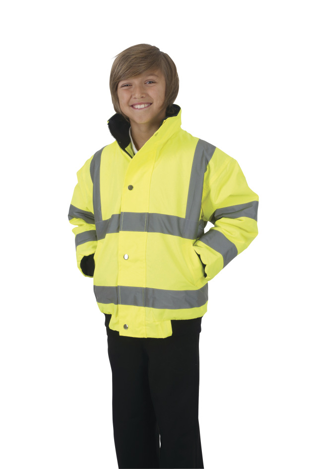 Yoko Childrens Hi-Vis Bomber Jacket 12 years Hi-Vis Yellow