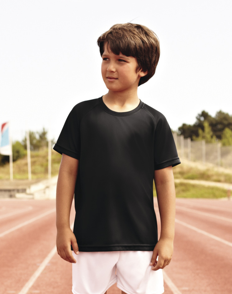 Fruit of the Loom Childrens Kids Performance T 6 years Black