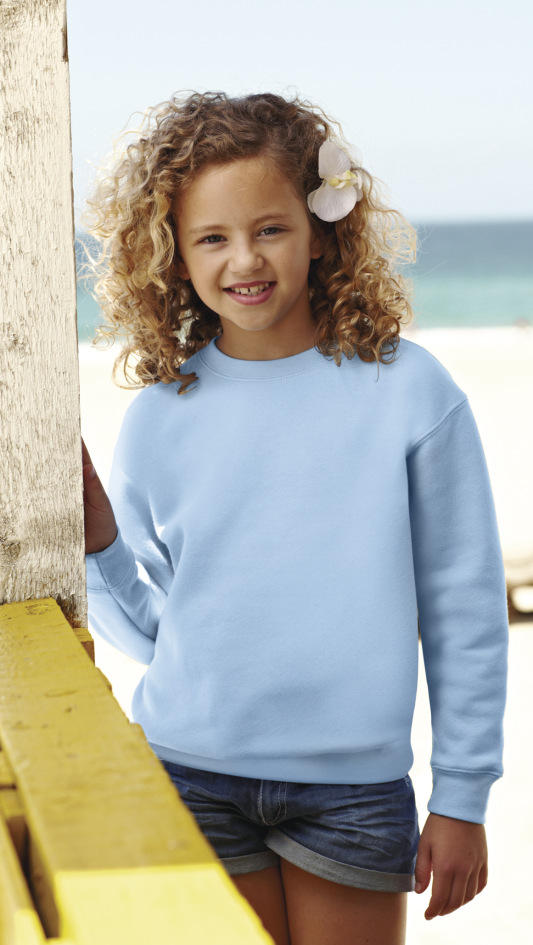 Fruit of the Loom Childrens Set In Sleeve Sweatshirt 8 years White